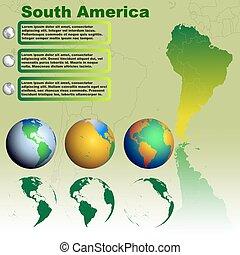 Mapa de Sudamérica en vector verde de fondo