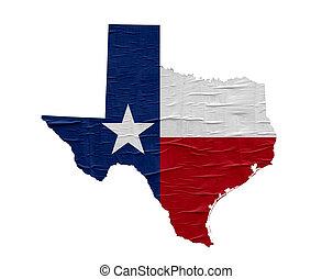 Mapa de Texas del Estado de EE.UU. con bandera en el viejo diseño de papel