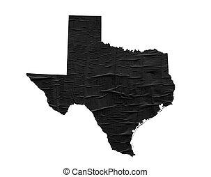 Mapa de Texas del Estado de EE.UU. en el viejo diseño de papel