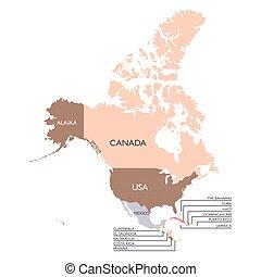 Mapa del continente norteamericano