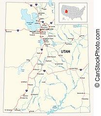 mapa del estado, utah, norteamericano, camino, nosotros