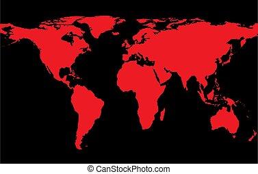 Mapa del mundo con continentes rojos