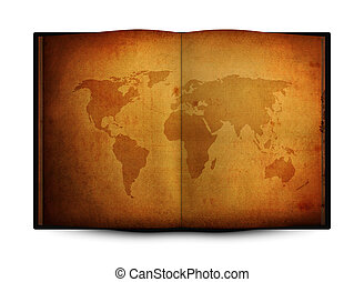 mapa del mundo, libro, abierto, viejo, grunge
