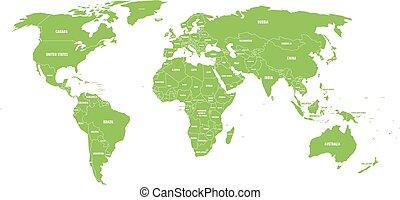 Mapa del Mundo Político Verde con fronteras rurales y etiquetas de nombre de estado blanco. Ilustración de vectores simplificada a mano