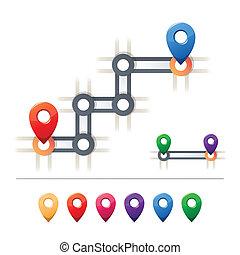 mapa, destino, iconos