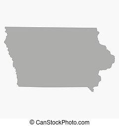 mapa el plano de fondo, gris, blanco, estado, iowa