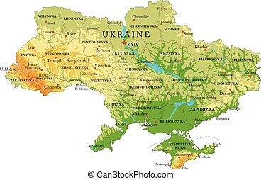 mapa en relieve, ucrania