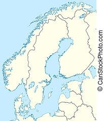 mapa, escandinavia