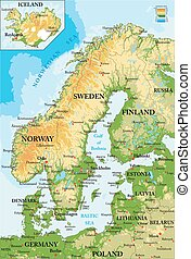Mapa escandinavia-física
