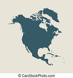 Mapa exterior de Norteamérica. Ilustración vectorial aislada.