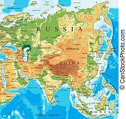 Mapa física de Asia