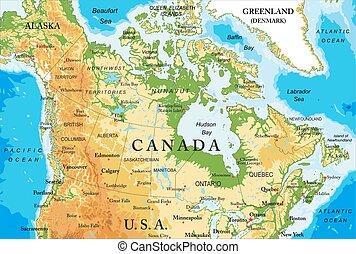 Mapa física de Canadá