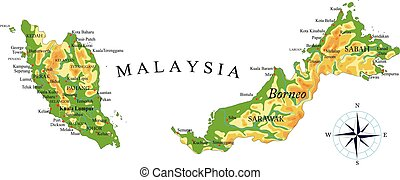 Mapa física Malasia