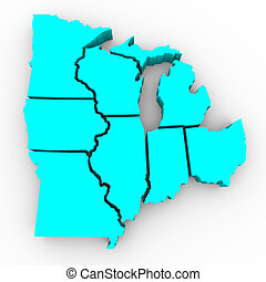 mapa, grande, región, -, lagos, estados, 3d