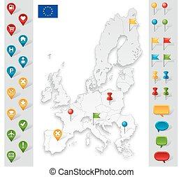Mapa gris de la Unión Europea con marcadores