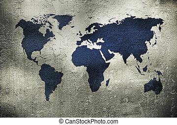 Mapa grunge del mundo sobre la textura de metal