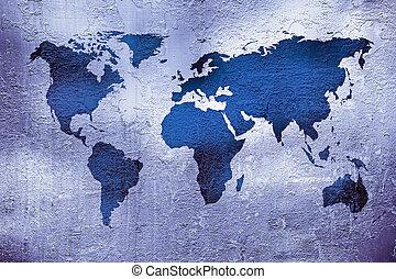 mapa, grunge, textura, metal, encima, mundo