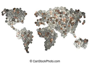 Mapa hecha de monedas aisladas en blanco