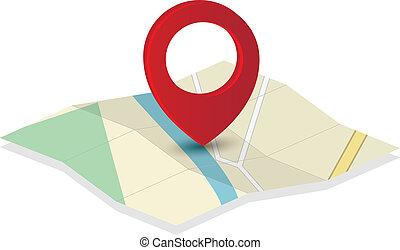 mapa, indicador, alfiler, icono