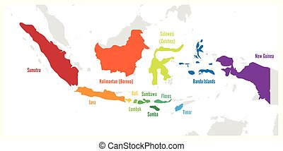 mapa, indonesia., vector, nombres, islas, principal