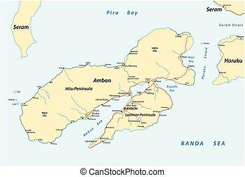 mapa, indonesio, maluks, isla, pertenencia, ambon