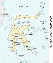 mapa, indonesio, sulawesi, isla, vector, caminos