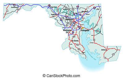 Mapa interestatal del estado de Maryland