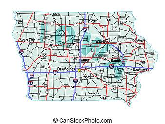 mapa, iowa, carretera, interestatal