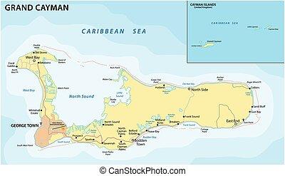 mapa, isla, caribe, magnífico, camino, vector, caimán