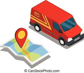 mapa, isométrico, furgoneta, carga, coche, carro de entrega, ubicación, 3d