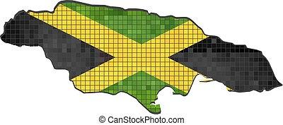 Mapa Jamaica con bandera dentro