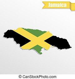 Mapa Jamaica con bandera dentro y cinta
