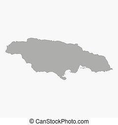 Mapa Jamaica en gris en un fondo blanco