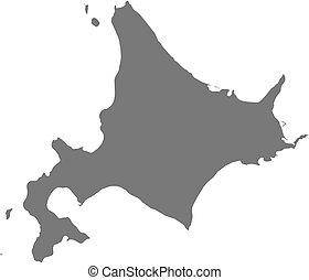 mapa, (japan), -, hokkaido