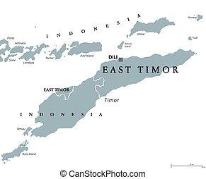 mapa, leste, político, también, este, timor, o