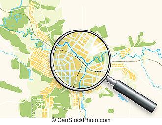 mapa, loupe, ciudad