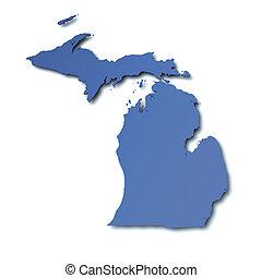 mapa, michigan, -, estados unidos de américa