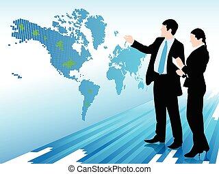 mapa, mujer mirar, hombre de negocios, mundo digital