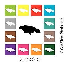 Mapa multicolor del país de Jamaica