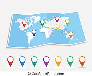 Mapa mundial con alfileres de posición geopositiva archivo vector EPS10.