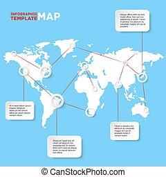 Mapa mundial con elementos gráficos. Ilustración de vectores