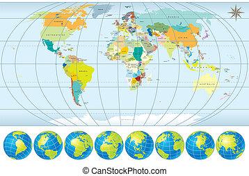 Mapa mundial con globos