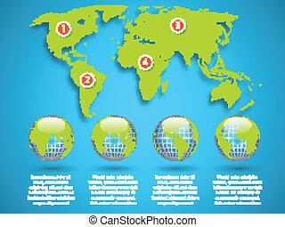 Mapa mundial con plantilla de información global