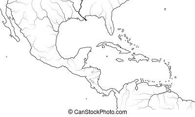 Mapa mundial de América Central y Región de Caribe México, Islas Caribeñas, cuencas caribeños. (Carta geográfica).