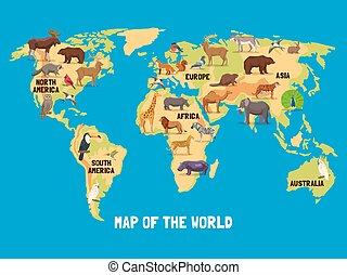 Mapa mundial de animales