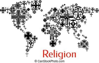 Mapa mundial de religión con símbolos cruzados de cristianismo