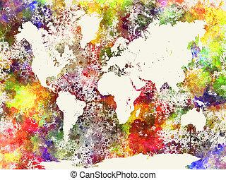Mapa mundial en acuarela