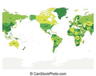 Mapa mundial en cuatro tonos de verde en fondo blanco. Alto detalle América centrado mapa político. Ilustración de vectores con etiquetado el camino compuesto de cada país