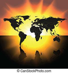 Mapa mundial en el vector de fondo del atardecer