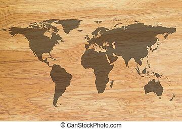 Mapa mundial en fondo de textura de madera